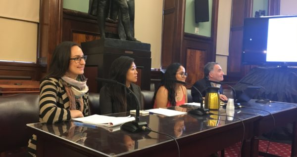 Yvonne Chen (second on left) testifying at City Hall